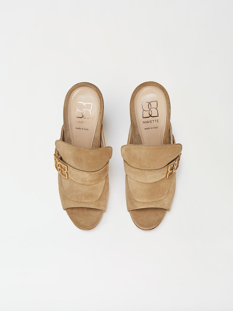 A Pair of Mavette Firenze Mule Tan Top View