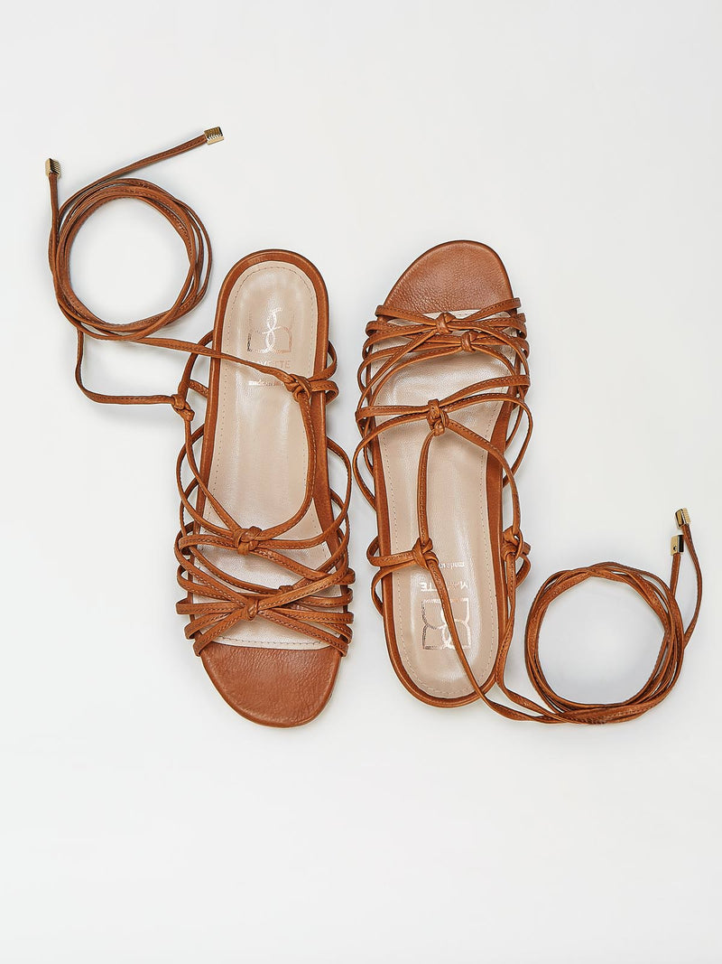 A Pair of Mavette Greca Leg Wrap Sandals - Top View