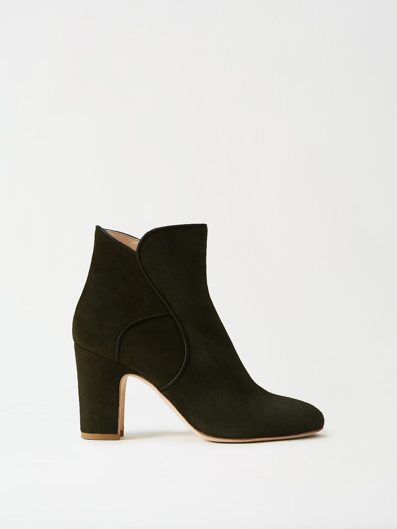 Black suede ankle boot 3 inch heel side profile view