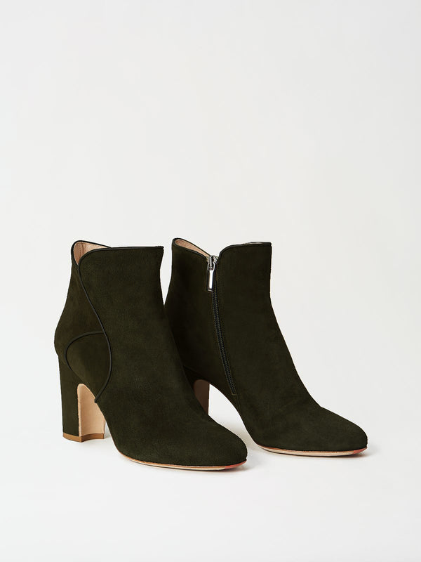 Pair of Black suede ankle boot 3 inch heel side profile view