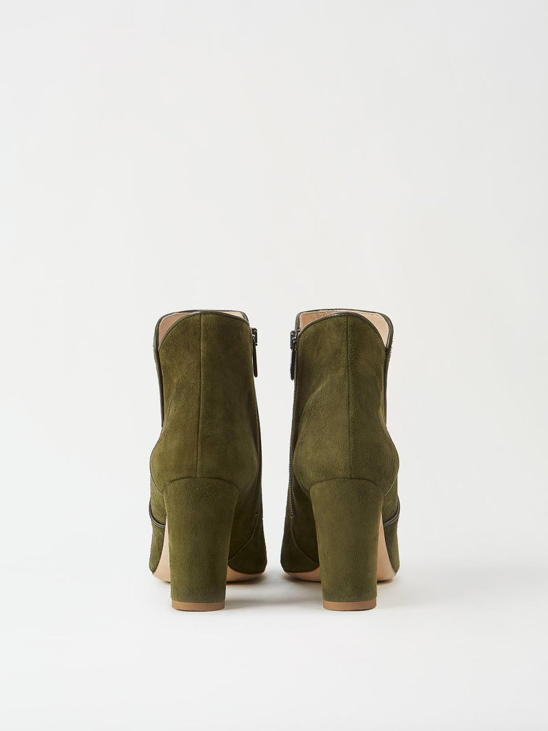 A Pair of Mavette Leo Boots Green Back View