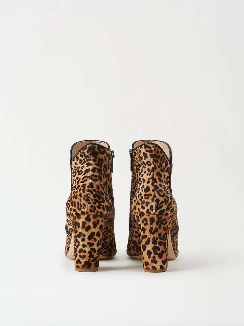 A Pair of Mavette Leo Boots Leopard Back View