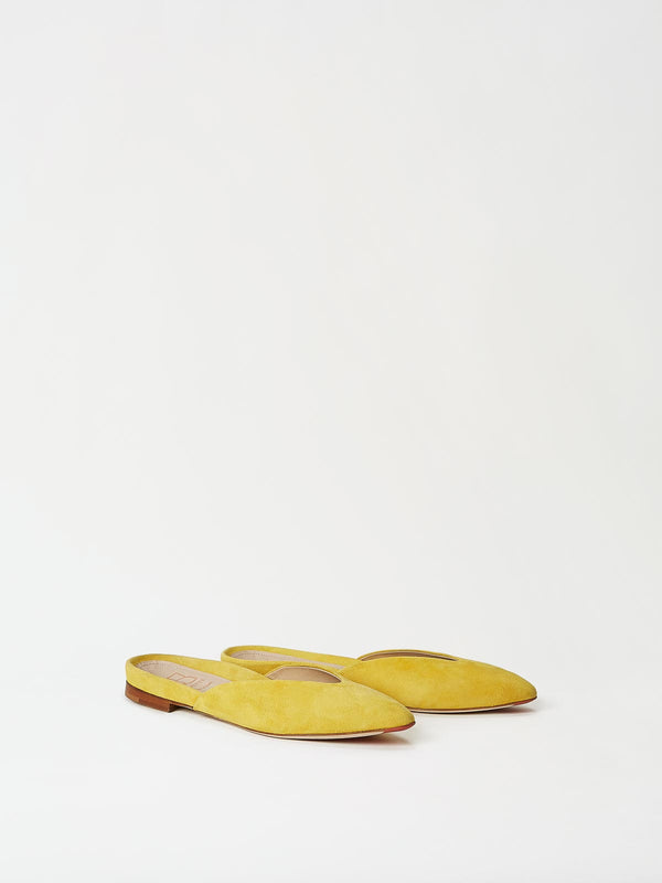A Pair of Mavette Lucca Slide Yellow Front-Side View