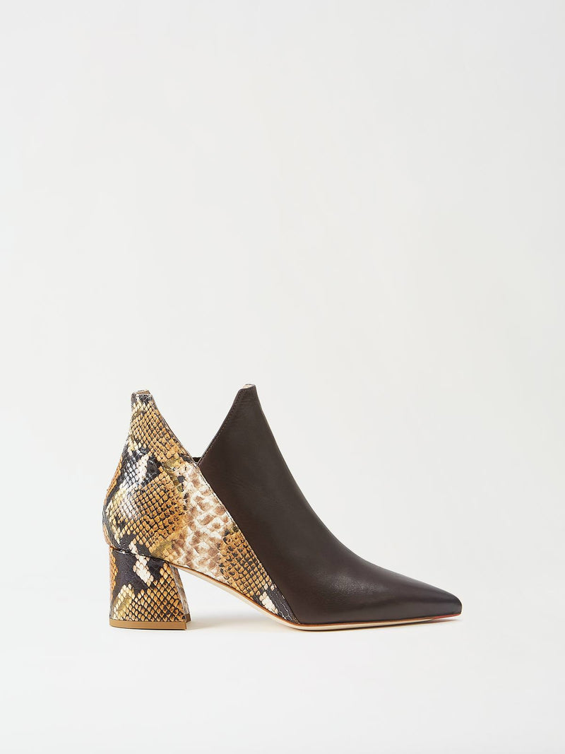 Mavette Lunari Bootie Brown Snake Side View