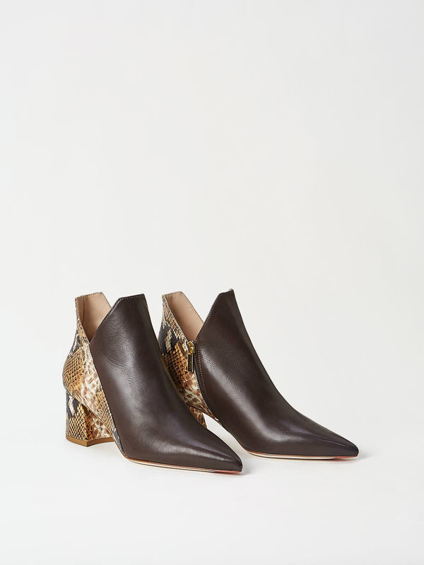A Pair of Mavette Lunari Bootie Brown Snake Side-Front View