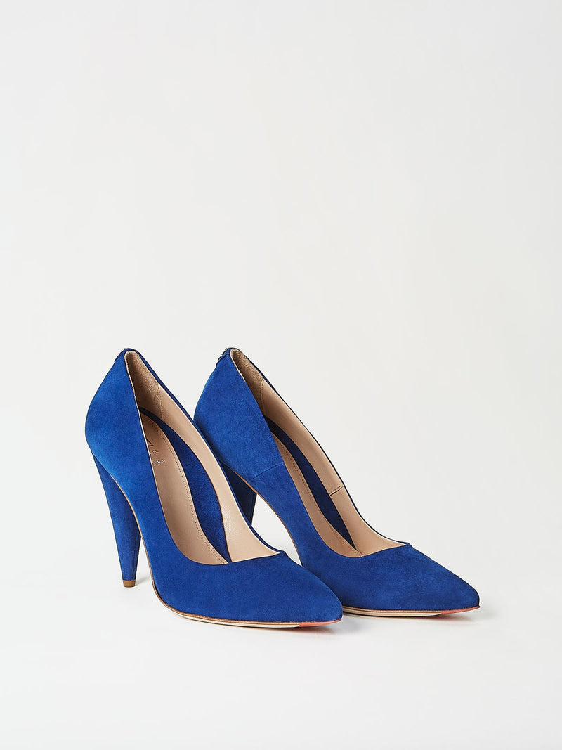A Pair of Mavette Madonna Pumps Blue Side-Front View