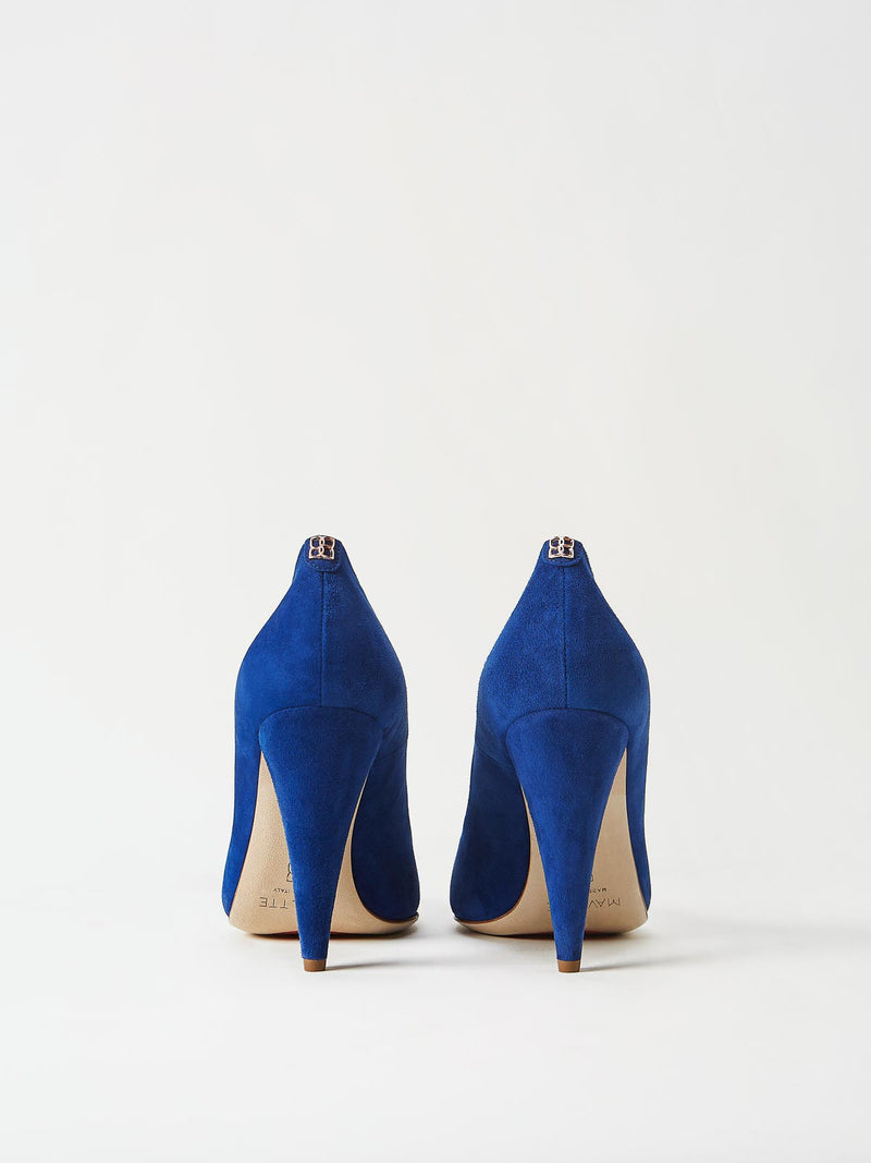 A Pair of Mavette Madonna Pumps Blue Back View