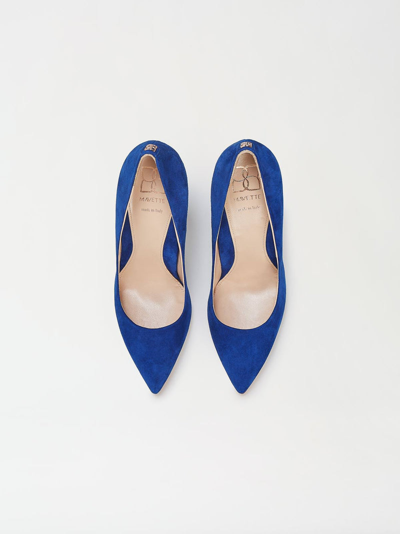 A Pair of Mavette Madonna Pumps Blue Top View