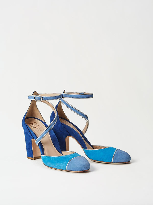 A Pair of Mavette Nola D'Orsay Pumps Blue Side-Front View