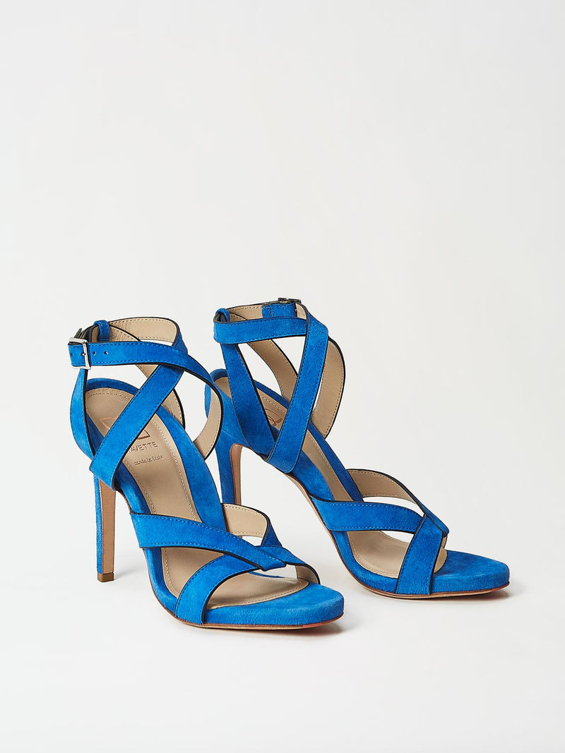 A Pair of Mavette Positano Sandals Blue Side-Front View
