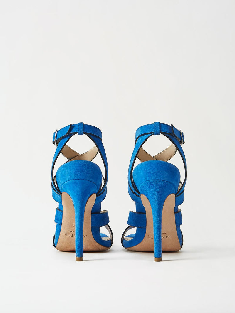 A Pair of Mavette Positano Sandals Blue Back View