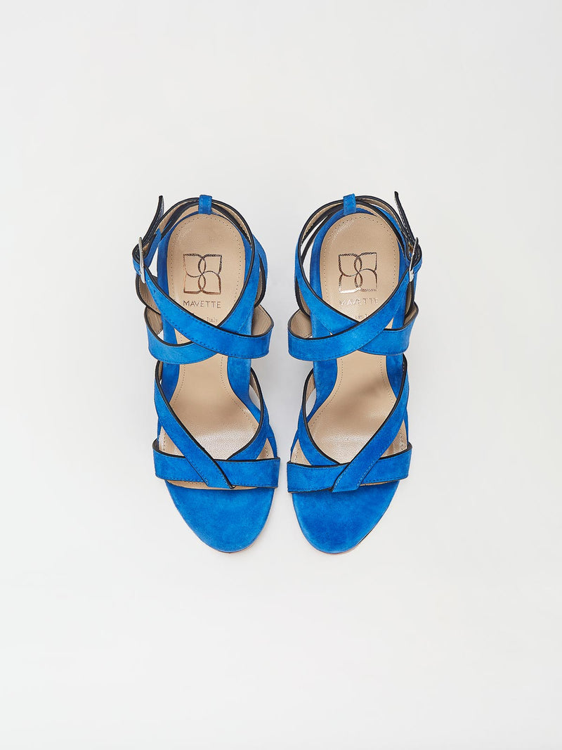 A Pair of Mavette Positano Sandals Blue Top View