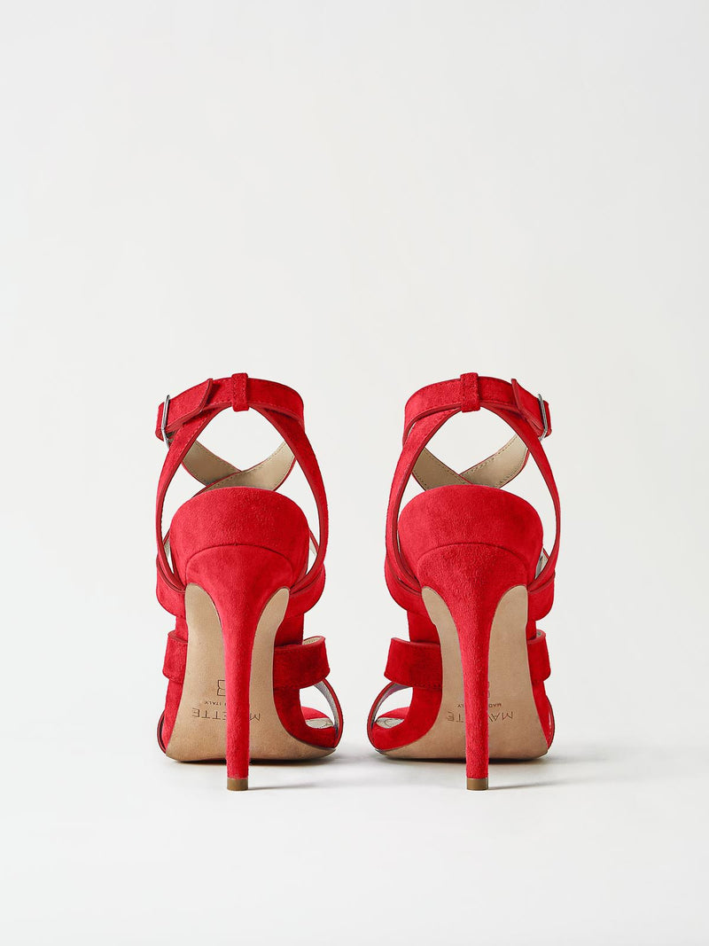 A Pair of Mavette Positano Sandals Red Back View