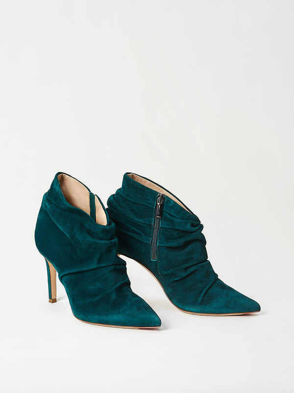A Pair of Mavette Ravenna Booties Green Side-Front View