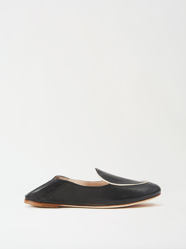 Mavette Sara Loafer Black Side View lowered heel