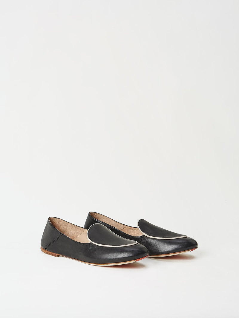 A Pair of Mavette Sara Loafers Black Side-Front View