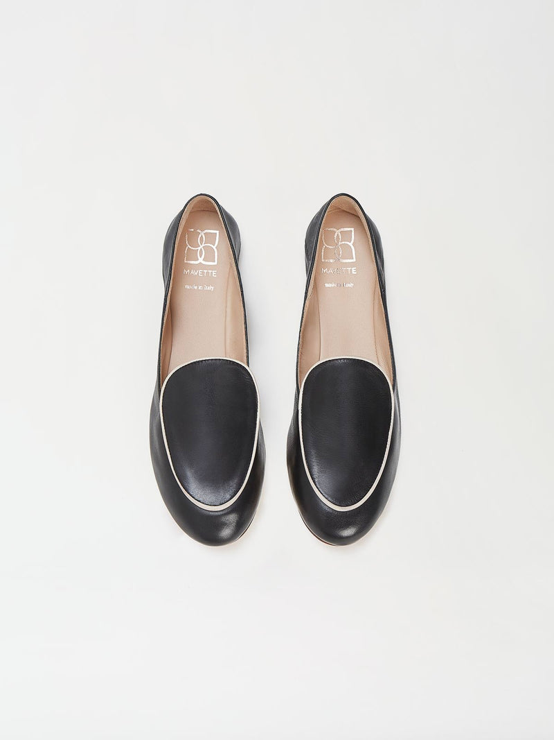 A Pair of Mavette Sara Loafers Black Top View