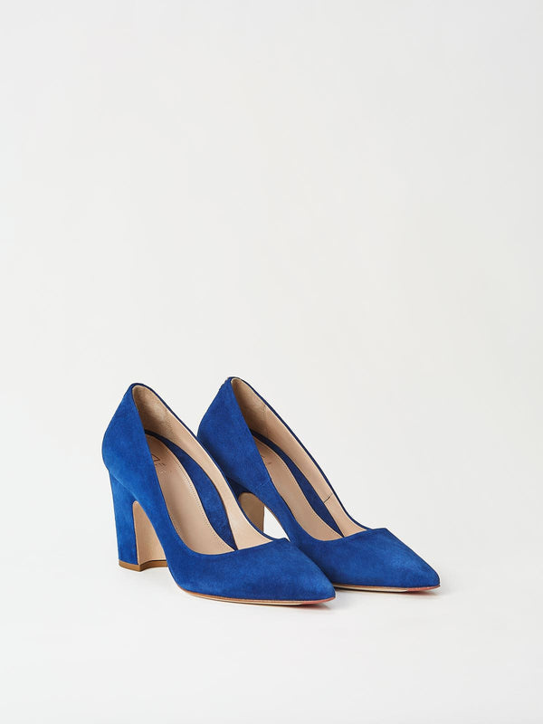 A Pair of Mavette Sarnico Pumps Blue Side-Front View