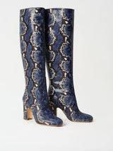 A Pair of Mavette Savona Boots Blue Snake Side-Front View