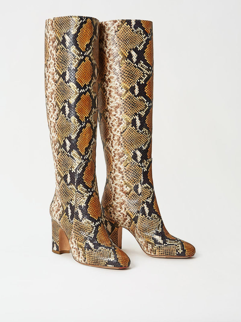 A Pair of Mavette Savona Boots Tan Snake Side-Front View