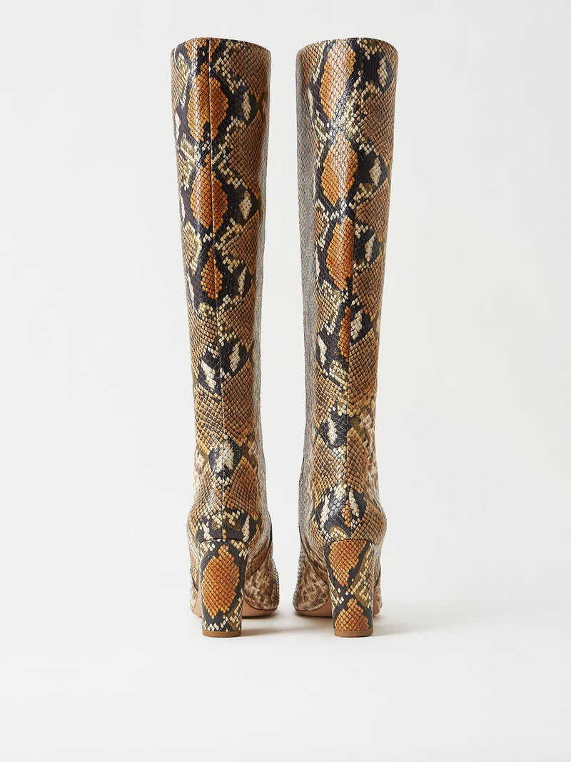 A Pair of Mavette Savona Boots Tan Snake Back View