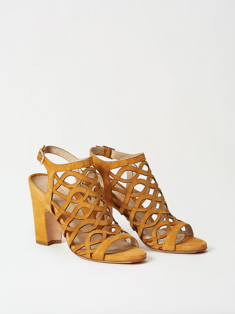 A Pair of Mavette Scilla Sandal Tan Side-Front View