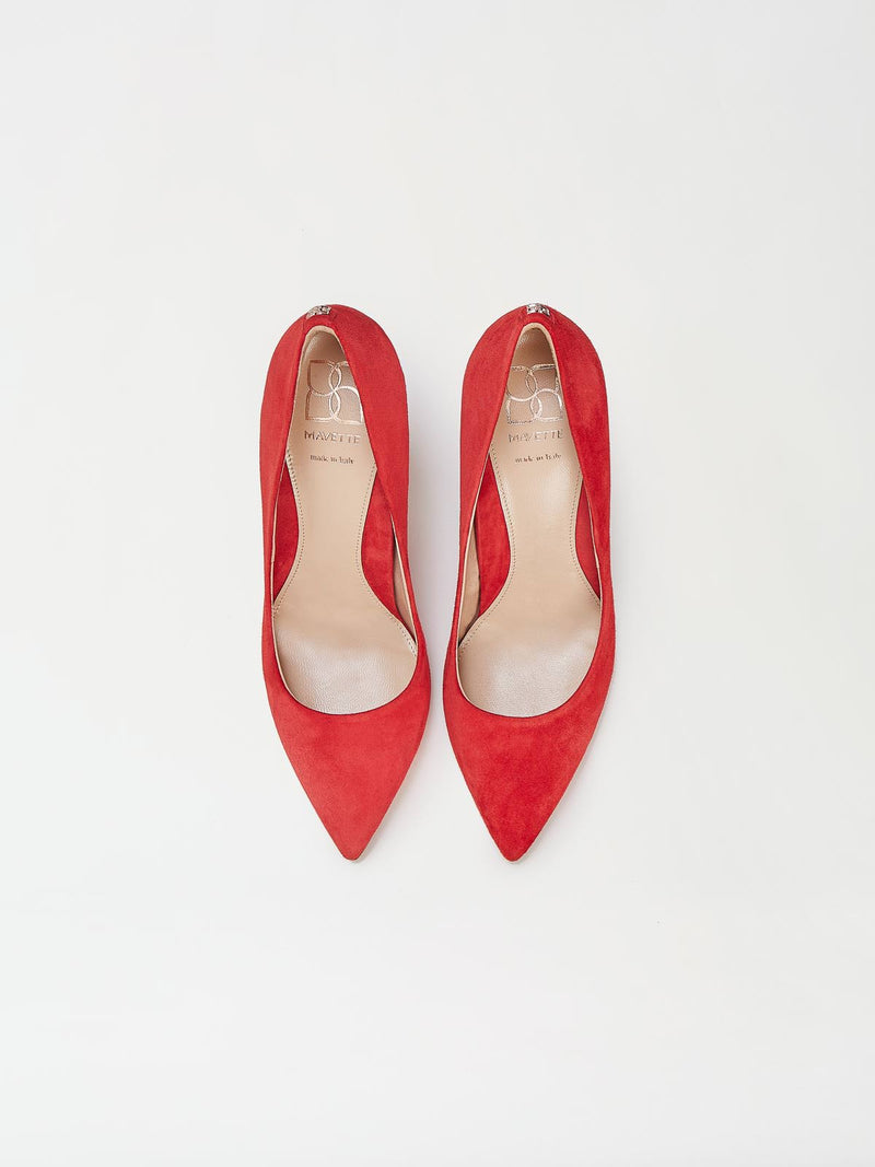 A Pair of Mavette Siena Pump Red Top View