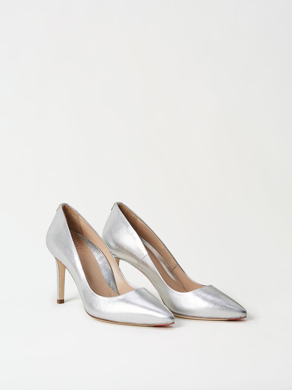 A Pair of Mavette Siena Pump Silver Side-Front View