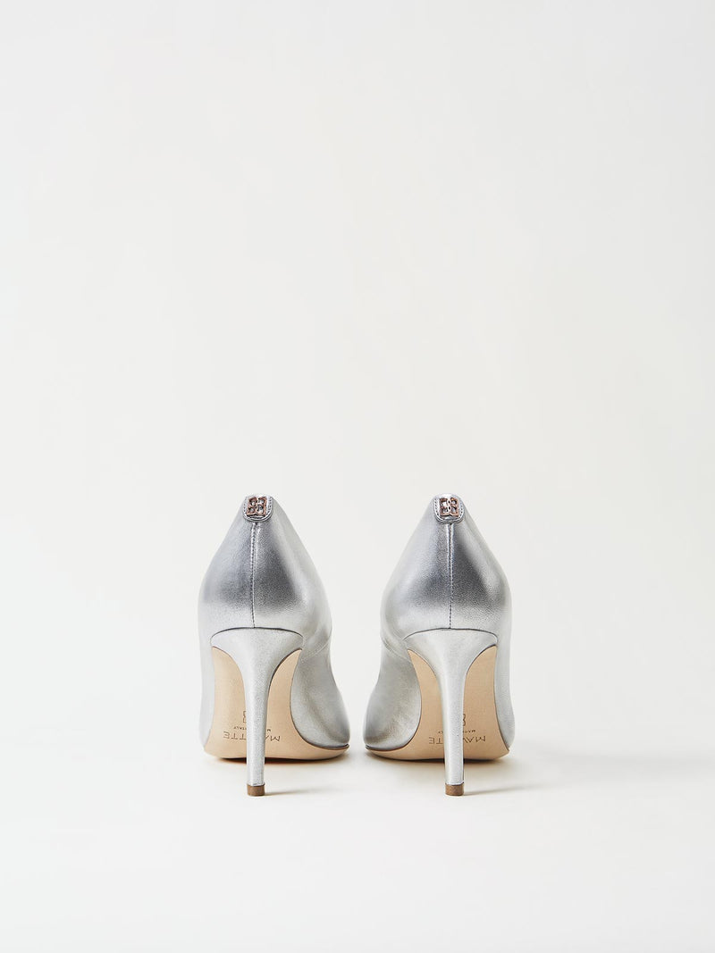 A Pair of Mavette Siena Pump Silver Back View