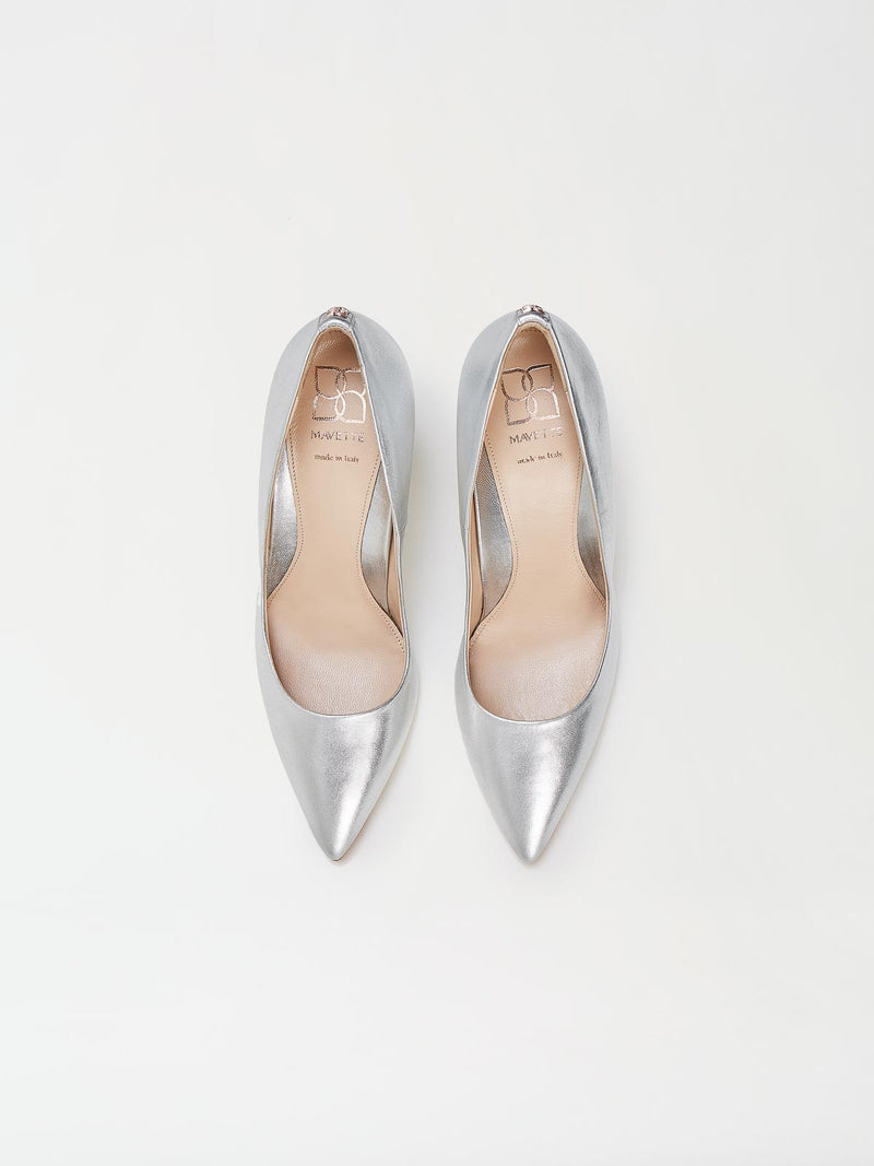 A Pair of Mavette Siena Pump Silver Top View