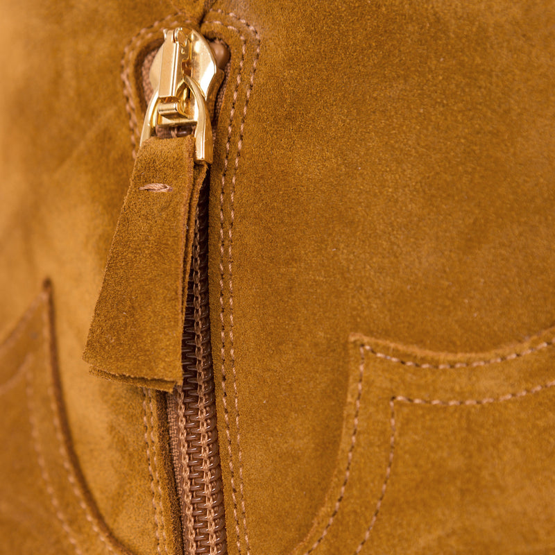 Zipper on a Mavette Stella Boot Western Brown Tan Suede