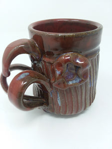 Unique Vintage Wheel Thrown Red Glossy Mug - AsIsStuff