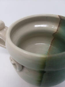 Porcelain Hand Made Pottery Mug Cup Glossy Green Teal White Glaze High Quality - AsIsStuff