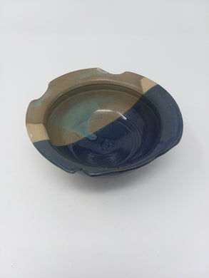Asymmetrical Hand Made Stoneware Pottery Bowl Glossy Blue Gray Light Tan Glaze - AsIsStuff
