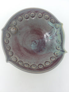 Hand Made Vintage Stoneware Pottery Small Saucer Plate Multi-Color Glazed - AsIsStuff