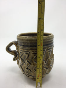 Vintage Hand Tossed Textured Yellow & Black Glazed Mug - AsIsStuff