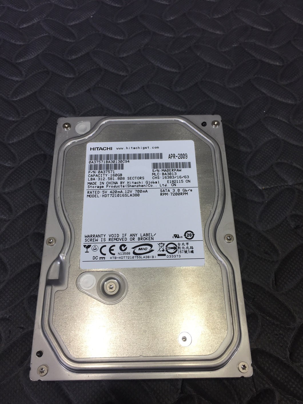 "Hitachi 0A37571 3.5"" SATA 7200RPM 8MB Cache 160GB HDD Tested Good! - AsIsStuff"