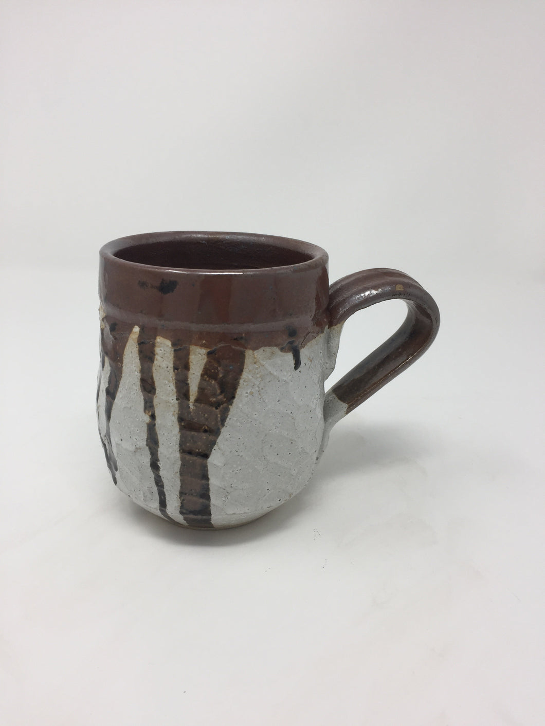 Vintage Hand Tossed White & Brown Pottery Mug - AsIsStuff