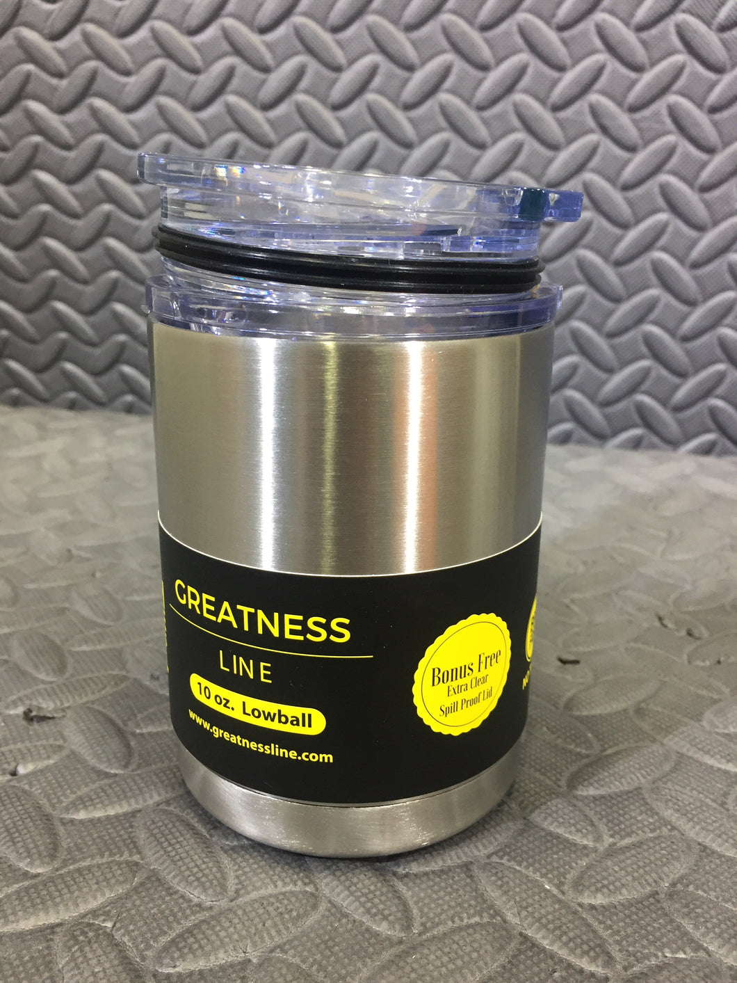 Greatness Line 10oz Lowball Stainless Steel Double Walled Vacuum Tumbler 2 lids - AsIsStuff