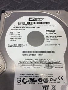 "Western Digital WD1600JS 3.5"" SATA 7200RPM 8MB Cache 160GB HDD Tested & Wiped - AsIsStuff"