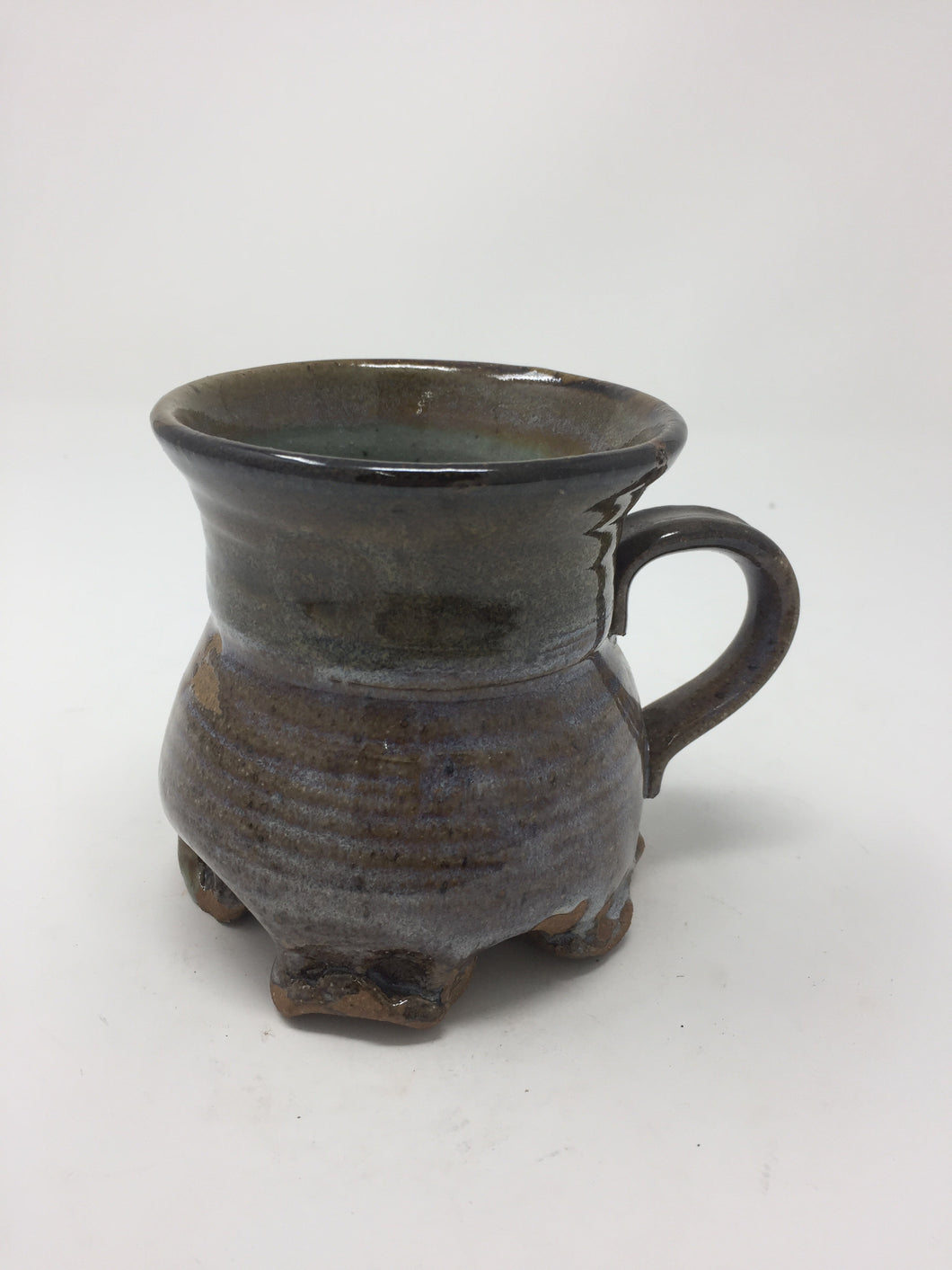Vintage Hand Tossed Multicolored Pottery Mug - AsIsStuff