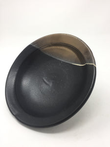 Vintage Hand Tossed Black & Tan Pottery Bowl - AsIsStuff