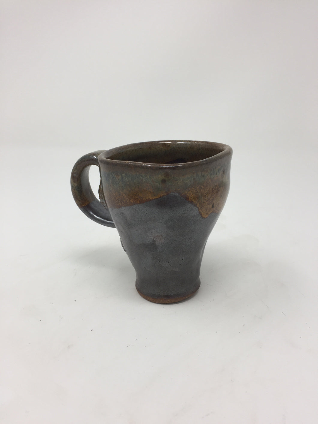 Vintage Hand Thrown Blue & Orange Pottery Mug - AsIsStuff