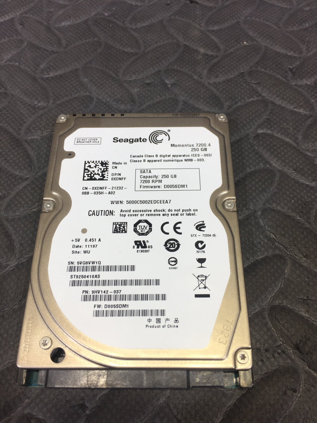 "Seagate ST9250410AS 2.5"" SATA 7200RPM 16MB Cache 250GB HDD Caution Status - AsIsStuff"