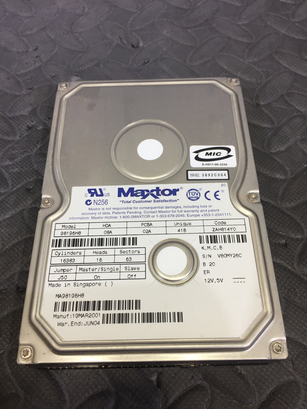 "Maxtor 98196H8 3.5"" IDE 5400RPM 2MB Cache 81.9GB HDD Tested Good! - AsIsStuff"
