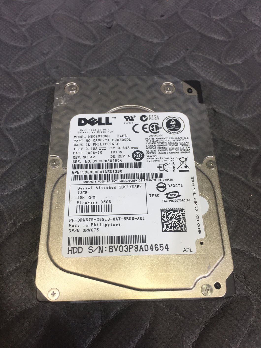"Dell MBC2073RC 2.5"" SCSI 15K RPM 16MB Cache 73GB HDD Tested Good - AsIsStuff"