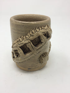 Vintage Hand Tossed Tan Glazed Textured Pottery Mug - AsIsStuff