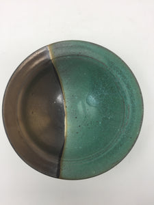 Vintage Hand Tossed Green & Brown Pottery Bowl