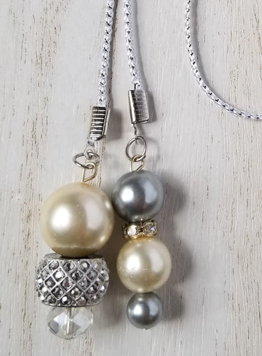 Handmade Pearl & Silver Planner Dangle Charm Bookmark
