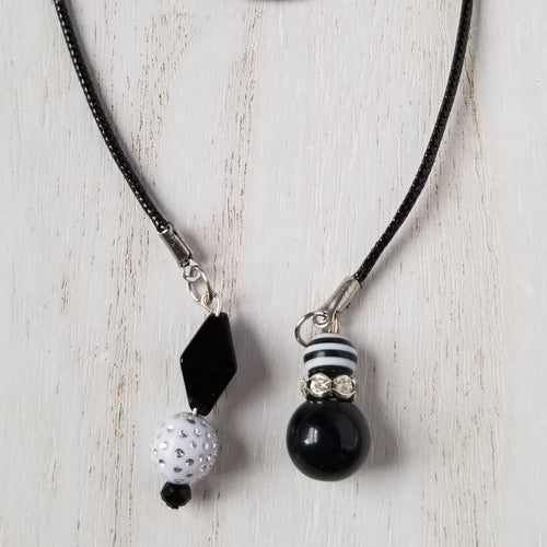Handmade Black & White Planner Dangle Charm Bookmark 1